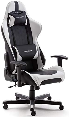DX Racer 6 62506SW5 - Silla gaming, color negro/blanco, 78 x 52 x 124-134 cm