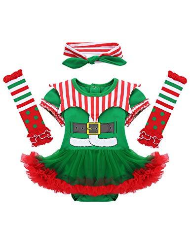 Freebily Conjunto de Navidad para Bebé Niña Recién Nacido Vestido de Princesa Infantil Estilo de Pelele Fiesta Invierno Otoño Verde&Rojo 9-12 Meses