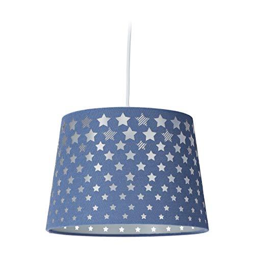 Relaxdays Lámpara de techo para habitación infantil, con diseño de estrellas, pantalla de tela, para niñas y niños, E27, 124 x 27,5 cm, azul, 10032276_45