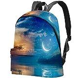 Estrellas crecientes y Nubes Brillantes sobre el mar Bolso Adolescentes Mochila Escolar Mochilas livianas Mochila de Viaje Mochilas diarias