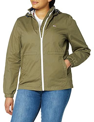 Tommy Jeans Damen Tjw Hooded Windbreaker Jacke, Grün (Olive Tree Msq), 40 (Herstellergröße: X-Large)