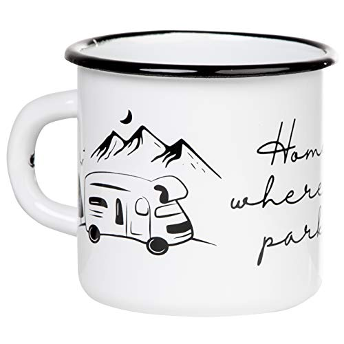 Mugsy I Emaille Tasse mit Spruch Home is where your park is - Weiß, 330 ml, Emaille Becher bruchfest (Wohnmobil)