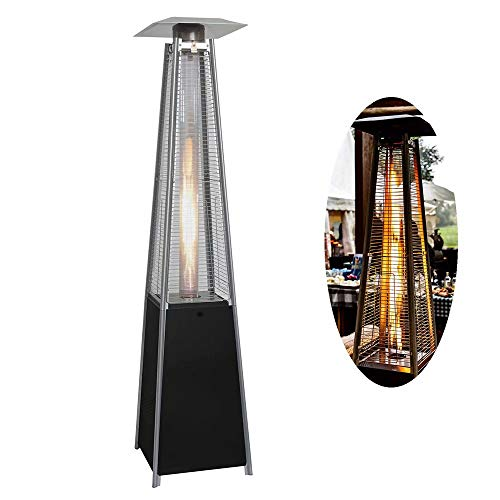 Outdoor Patio Gas Heater Independent Pyramid Terrace Heater 90 Inch Tall Standing Liquefied Gas Heater for Outdoor Restaurants, Bars, Villa Courtyards