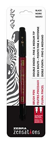 Zebra Pen Zensations Brush Pen, Double Ended, Medium and Fine Brush Tip, Black Water-Resistant Ink, 1-Pack