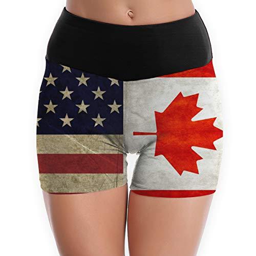 NiYoung Women Girls Compression Shorts High Waist Yoga Shorts Lightweight Tummy Control Workout Athletic Running Fitness Shorts - L, USA America Ca Canada Flag