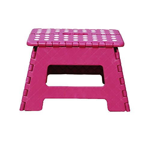 db Living Plastic Folding Step Stool with Handle 12' Wide of Kids or Adults Stepping Stool for Kithchen,Bathroom,Bedroom (Plum)