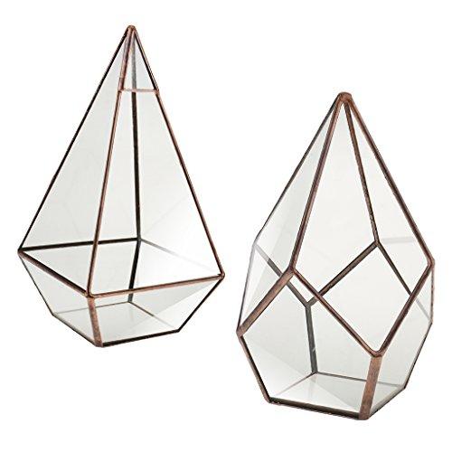 Fenteer 2pcs Chic Geometrische Terrarium Kerzenhalter Schmuck Behälter Blumentopf, aus Glas, Pyramide und Diamant Aussehen
