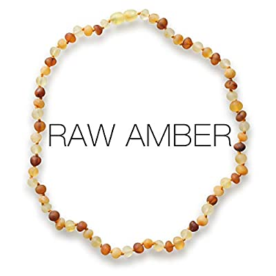 Meraki Adult Amber Necklace - Raw Unpolished Baroque Baltic Amber Necklace | All Natural Pain Relief for Adults to Help Migraines, Sinuses, Arthritis and More | Cognac/Honey/Lemon Color (18 Inches)