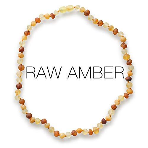 Meraki Baltic Amber Necklace - Raw Unpolished Baroque Baltic Amber Necklace | Certified Genuine Baltic Amber Necklace | Cognac/Honey/Lemon Color (12.5 Inches)