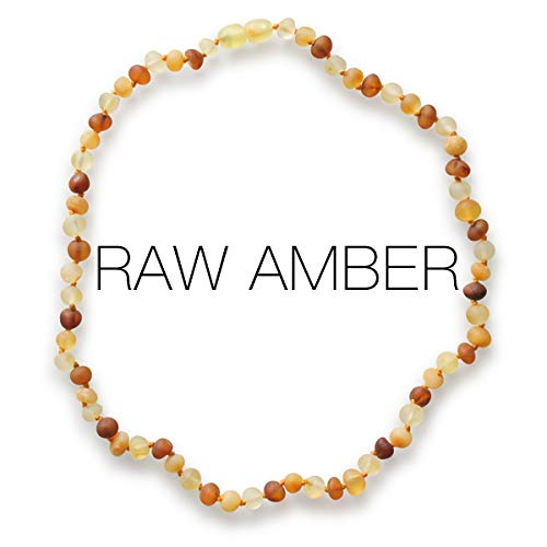 Meraki Amber Necklace - Raw Unpolished Baroque Baltic Amber Necklace | Alternative Pain Relief - Certified Genuine Baltic Amber Necklace | Cognac/Honey/Lemon Color (11.5 Inches)