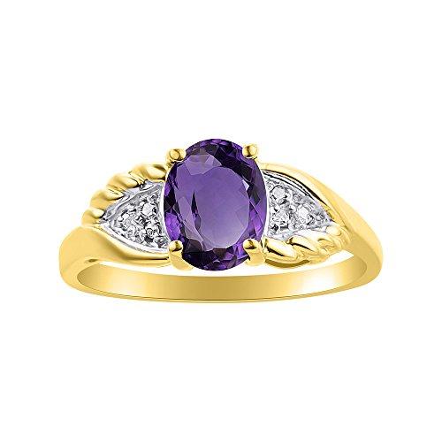 Diamond & Amethyst - Juego de anillos de oro amarillo de 14 quilates, diseño de alas de diamante