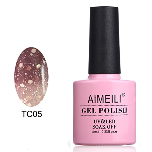 AIMEILI UV LED Nagellack Thermo Gellack ablösbarer Temperatur Farbwechsel Gel Nagellack Gel Polish - Chocolate Spark (TC05) 10ml