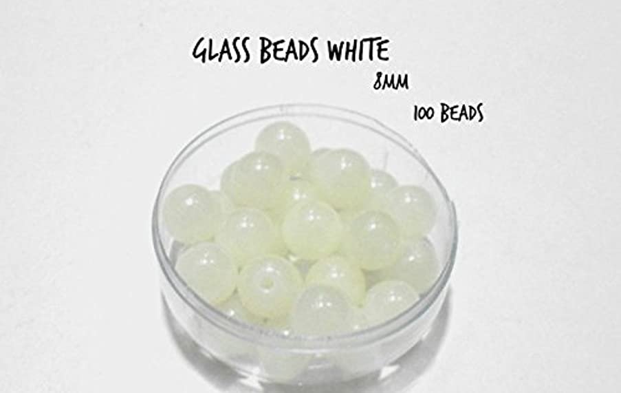 GOELX Glass Beads White Round 100 Beads For Jewellery Making, Crafts, Bead Size 8Mm