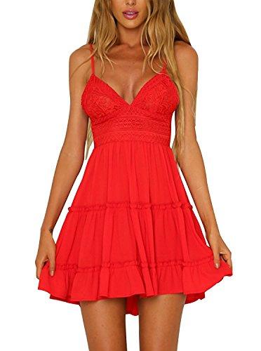 Minetom Sommerkleid Damen Sexy V Ausschnitt Spitzenkleid Abendkleid Kleider Frauen Ärmellos Swing Kleid Träger Rückenfreies Schleife Strandkleid Minikleid Rot DE 36