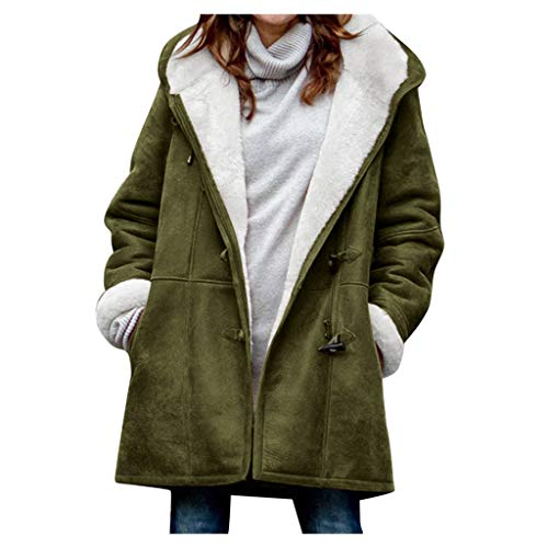 Smoxx Women Plus Size Fleece Warm Winter Pea Coat Horns Buckle Hooded Coat Long Windbreaker Pocket Outwear