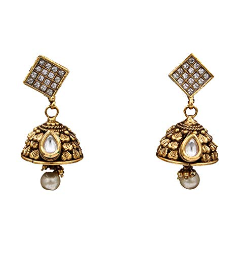 JewelryGift Pretty Dangle Pearl Drop Earrings 18K Gold Plated White CZ Studded Design Indian Handcrafted Fashion Jewellery for Sister Wife ME 199
