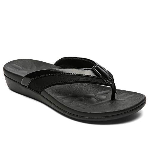 Sounity Sandalias para mujer, fascitis plantar con soporte de arco para pies planos, cómodos zapatos para caminar alivian el dolor de talón y pies., (W7-negro), 38 EU