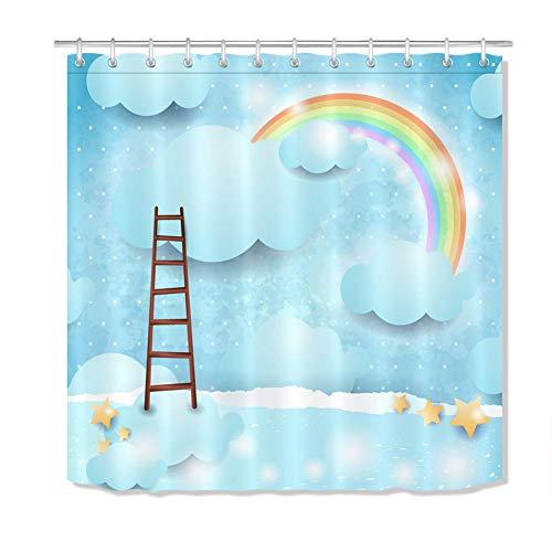 Twee ladders naar de hemel geschilderd. Douchegordijn. 180 x 180 cm. 12 vrije haken. Huisdecoratie. 3D Hd-druk. Eenvoudig te reinigen. Badkameraccessoires.