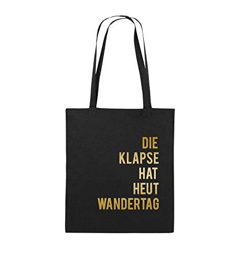 Comedy Bags - DIE Klapse HAT HEUT Wandertag - Jutebeutel - Lange Henkel - 38x42cm - Farbe: Schwarz/Gold