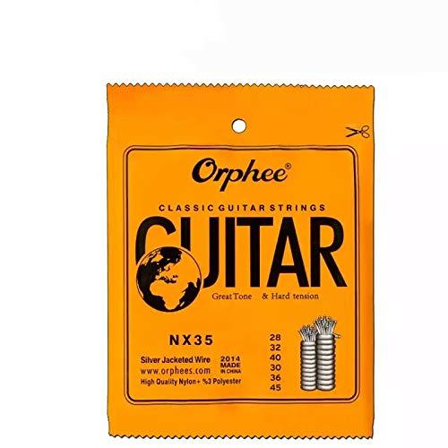 cuerdas de guitarra (NX35c, transparente-plateado) clásica española de nylon