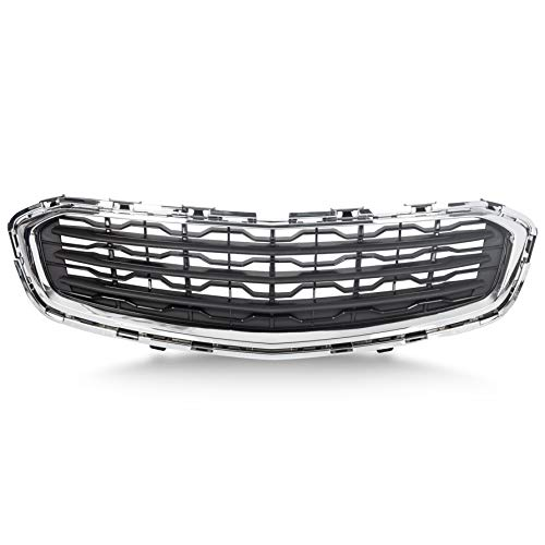 ECOTRIC Front Center Grille Black with Chrome Molding Compatible with 2015 Chevy Cruze Replacement for GM1200728 (EXCLUDES LTZ MODEL)