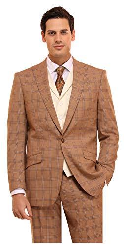 Mens Suit 3 Piece Plaid and Pinstripe Suit for Men Classic Regular fit Stripe