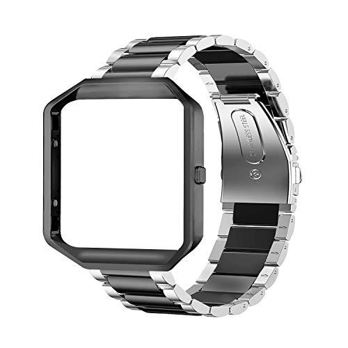 Oitom - Correa de Metal Compatible con Fitbit Blaze, tamaño Grande, Carcasa de Marco y Correa de Repuesto de Acero Inoxidable para Reloj Inteligente Fitbit Blaze