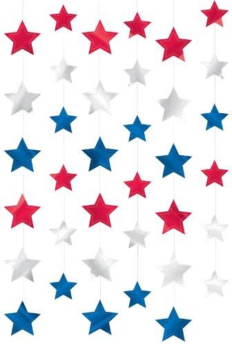 amscan Dekorative Lichterkette Patriotic Stars