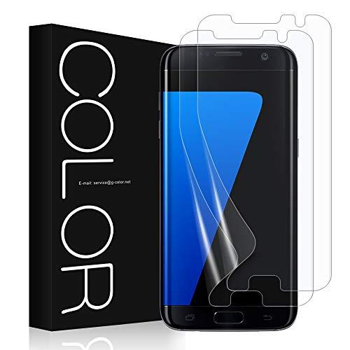 G-Color Galaxy S7 Edge Schutzfolie (2Stück), (Blasenfreie)[Mit Hülle][Einfache Anzubringen](TPU Schutzfolie Nicht Glasfolie) für Galaxy S7 Edge Schutzfolie