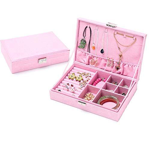 ELEAUTO Jewelry Box with Key for Women Girls Necklace Ring Storage Organizer with Lock Jewelry Organizer Portable Travel Storage Case