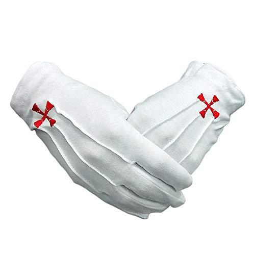 Knights Templar Red Cross White Cotton Freemasons Masonic Gloves