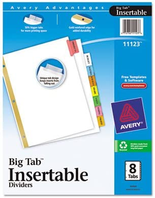 WorkSaver Free shipping anywhere in the nation Big Tab Dividers Multicolor Japan's largest assortment Tabs Whit Letter 8-Tab