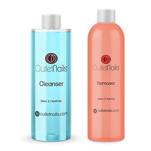 Acetona Pura con Olor Naranja 500ml + Cleaner 500ml Coco Azul | Made in Spain