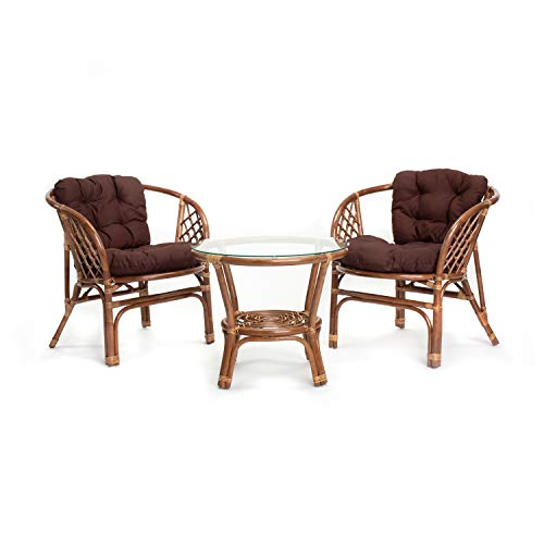 Rikmani Set mobili da Giardino - Mobili da Balcone - Terrazza mobili da Salotto - Mobili da Giardino in Legno di Sequoia - Set da tavola - Et da Giardino con Balcone (Hellbraun - Braun)