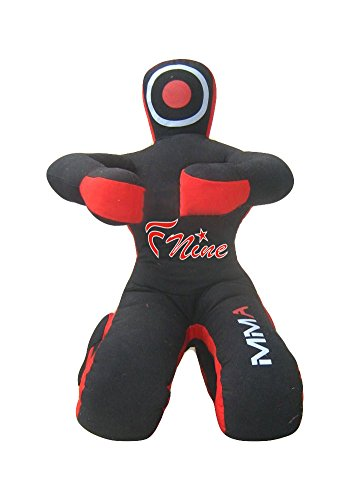 Judo Grappling Dummy Sitting Position Hands on The Front, UNFILLED MMA Dummy, Punching Bag (Black Canvas, 70')