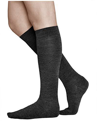 vitsocks Damen Kniestrümpfe 80prozent Merino Wolle warme Lange Socken, weich atmungsaktiv Winter, schwarz, 35-38