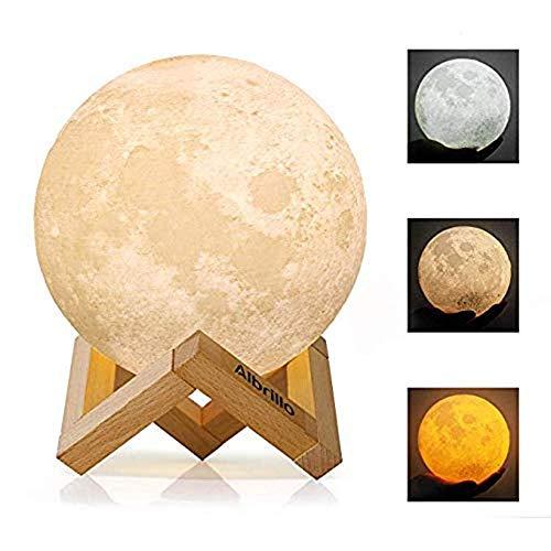 TOOSD Lampe de Lune, 3D imprimé 3 Couleurs LED lumière de Lune avec Support, Lune Nuit lumière sans Soudure 18cm Lunaire Lune veilleuse avec Stand-Noël et n'importe Quel Festival Cadeau (7,8 Pouces)