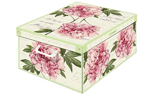 Collection Peonie, Caja de almacenaje en Carton, Montaje facil 50 x 39 x 24 cm, Grande