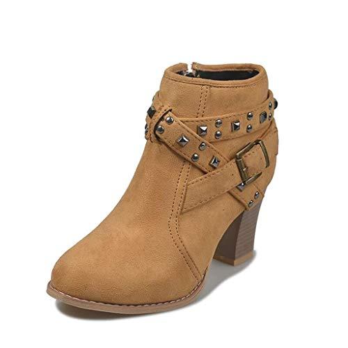 Botines Mujer Tacon Invierno Planos Tacon Ancho Piel Botas de Mujer Martin Botines Cortos Botín Elegantes Zapatos Plataforma