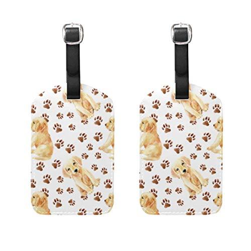WINCAN Etiquetas de Equipaje (variadas,2PK),Labrador Retriever Cachorro Patrones Sin Fisuras Lindo,Etiqueta de Equipaje para Equipaje,Mochilas Etiquetas de Maleta