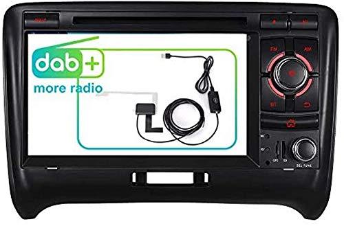 FWZJ 7 Navegador GPS con mapas precargados gratuitos Soporte Control del Volante Bluetooth 3G VMCD Dab para Audi TT 2006-2014 Unidad Principal Estéreo para automóvil Reproductor de DVD Radio Am /
