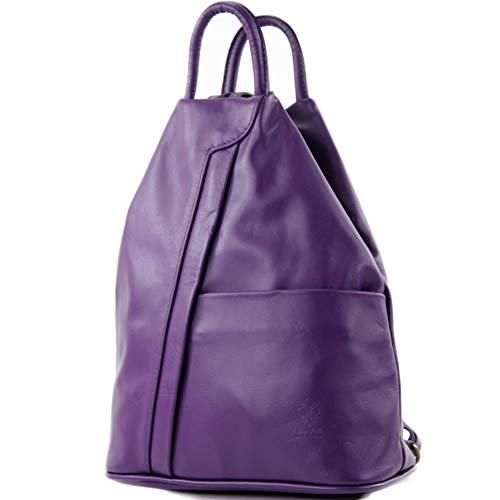 modamoda de - T180 - ital Borsa da donna zaino in nappa, Colore:viola