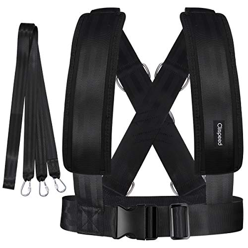 CLISPEED Fitness Sled Harness Workout Speed Trainer with Pull Strap for Resistance Training