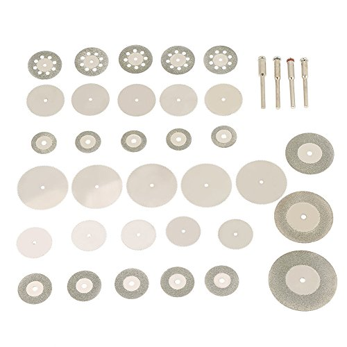 Paquete de 37 piezas de hoja de sierra circular de acero inoxidable con hoja de corte de diamante con mandriles para disco de corte de herramienta rotativa