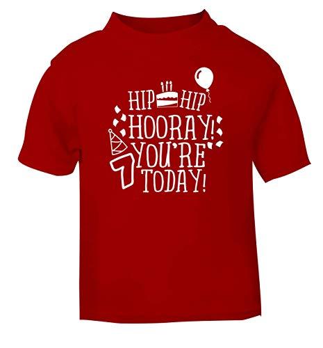 Flox Creative T-Shirt pour bébé Motif Hip Hooray You're 7 Today Noir - Rouge - 6 Mois