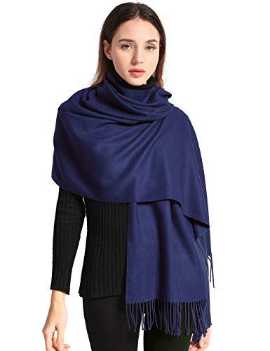 EASE LEAP Sciarpa Donna Pashmina Calda Lungo Invernale Trama Stile Elegante Di Soft 200 * 70cm(Marina Militare)