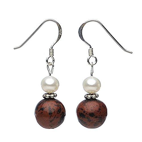 Ohrringe Ohrhänger Obsidian & Perlen Süßwasserperlen 925 Silber braun schwarz gefleckt