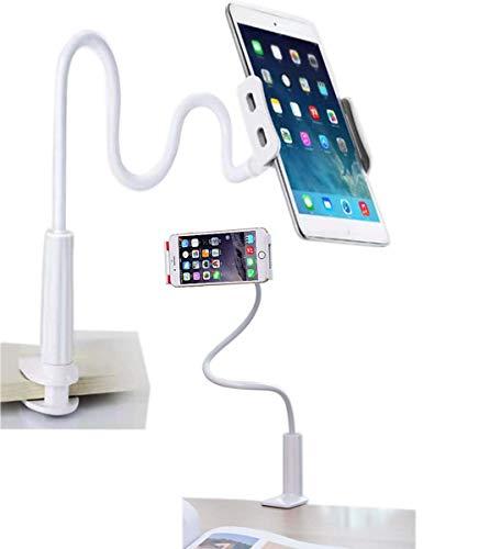 Soporte Tablet, Soporte para Teléfono Móvil Multiángulo Flexible con Cuello de Cisne Brazo, Compatible para iPad Serie/iPhone/Huawei/Samsung/Nintendo Switch/Mediapad Kindle Fire HD(blanco)