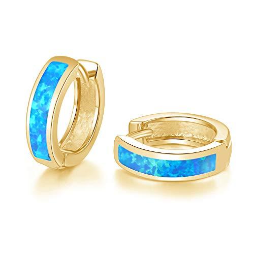 CiNily Huggie Earrings Blue Opal Hinged Hoop Earrings 14K Yellow Gold Plated Small Hoop Earrings for Women Girls Men Cute Earrings