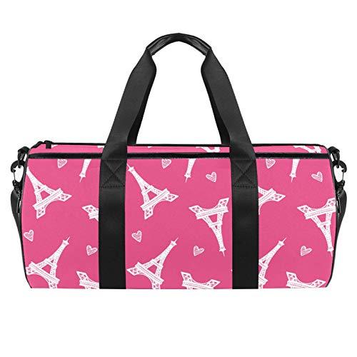 LAZEN Hombro Handy Sports Gym Bags Travel Duffle Totes Bag para hombres, mujeres, rosa, Torre Eiffel, patrón de amor